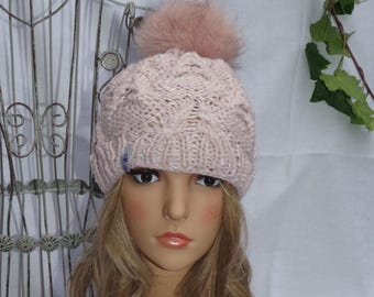 Real fur Pompom cabled hat made of Merino Wool with pailettengarn