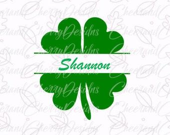 Monogram Shamrock SVG - St Patricks day Svg, Shamrock SVG cut file, SVG, dxf, Cutting Files, Silhouette, Cricut, Clipart, Clover, lucky svg
