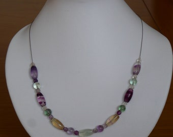 Fluorite necklace with sterling silver clasp, approx 17""