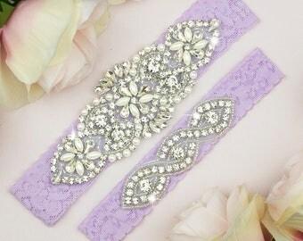 Lavender Purple Garter Set, Light Purple Wedding Garter, Wedding Garter Set, Purple Bridal Garter, Garter Set, Wedding Garter Set, 2-1A