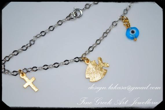 Fish Bracelet Sterling Silver Gold Fine Greek Art Handmade Jewelry Chain Cross Eye Best Idea Gift Christian Mama Baptism Baby Woman Children