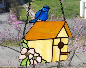 Stained Glass Springtime Birdhouse with Dogwood Flowers