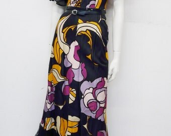 Vintage 70's full length dress // layered chiffon sleeves // Nale junior a Paris // Eur 34 / XS