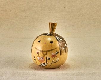Kokeshi wooden doll. Yuki-onna - snow spirit or Yukinko - snow child. Vintage, Japanese toy.