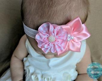 Baby Headband, Pink Headband, Spring Headband, Newborn Headband, Flower Headband, Baby Bows