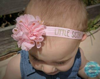 Big Sister Headband, Little Sister Headband, Pink Headband, Baby Girl Headband, Newborn Headband, Baby Hair Bows
