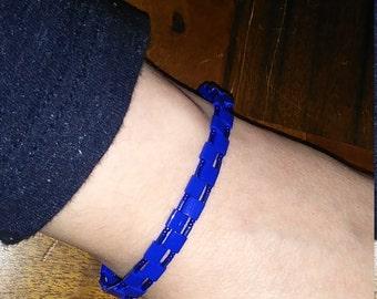 Tiny blue beaded Tennis Bracelet Bead Weave Crazy different design beads Bright blue statement simple elegant elegance