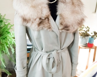 Light grey leather and fox fur jacket
