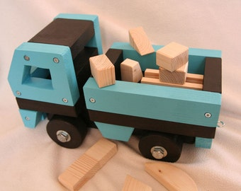 Handcrafted Original Solid Wood Truck - Blue