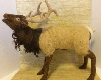 Bull Elk soft needle felted wool sculpture