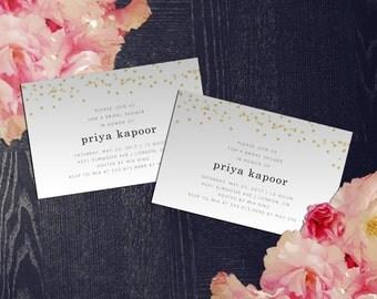 Gold Dots Bridal Shower Invitation - PRINT AT HOME - Customized