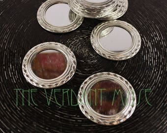 """FOUR Large 2.5"""" Tin Frame Shi Sha Mirrors for Tribal Bellydance and Fusion Costume Design"""
