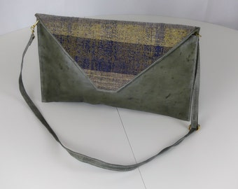 Handmade Leather and Cloth Clutch