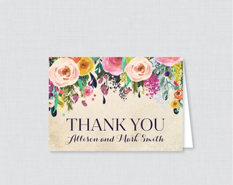Printable OR Printed Wedding Thank You Cards - Floral Thank You Cards Wedding - Colorful Flower Personalized Thank You Cards 0003-A