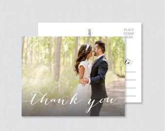 Printable OR Printed Photo Thank You Postcards - Picture Thank You Postcards for Wedding - Photo Thank You Cards with Picture 0004
