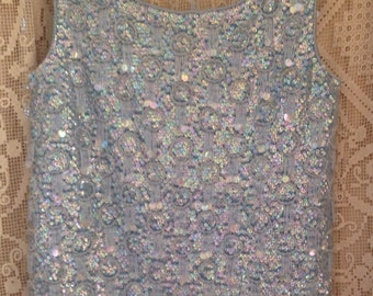 Superb Sixties shimmer sequin shell top size 36 in