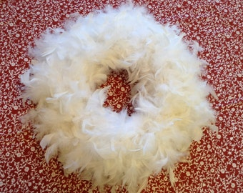 White feather wreath - med.
