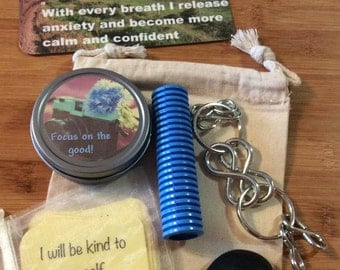 Calm down kit, fidget toys, stim, anxiety aid, aromatherapy dough, portable stress relief, relaxation, fidget, mental health, affirmations