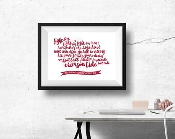 University of Alabama Print with Custom Digital Calligraphy