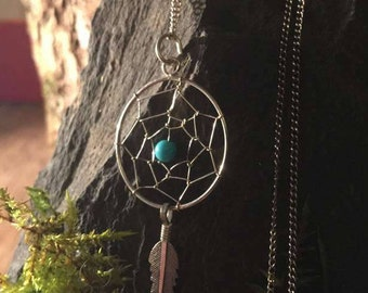 DREAM CATCHER NECKLACE- Silver with Turquoise bead