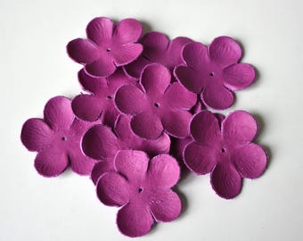 sakura leather flowers set of 10 pcs