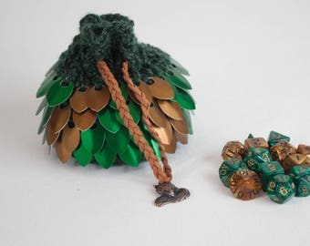 Fox Scalemail Dice Bag - Green and Bronze Chainmail Pouch - Crocheted Coin Purse - DnD