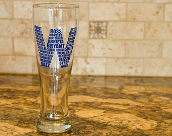 Chicago Cubs Beer Glass - W Flag Roster - 2016 World Series Champions