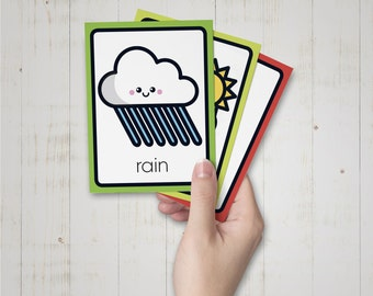 20 Weather Flashcards for Kids / Print, Cut and Learn Weather Flash Cards /  Kids Educational Cards / Printable Montessori cards
