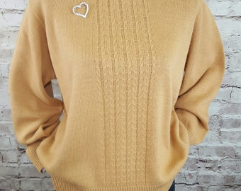 Butterscotch Cable Knit Sweater 1980's Acrylic