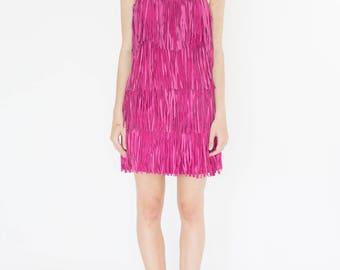 Vintage 90s Pink Fringe Dress