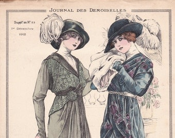 Engraving mode from the Journal of the ladies dated December 1, 1912. Mode. Couture. french vintage!