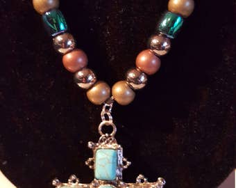 TURQUOISE CROSS  & BEADED Necklace/Earring Set - Absolutely Stunning!