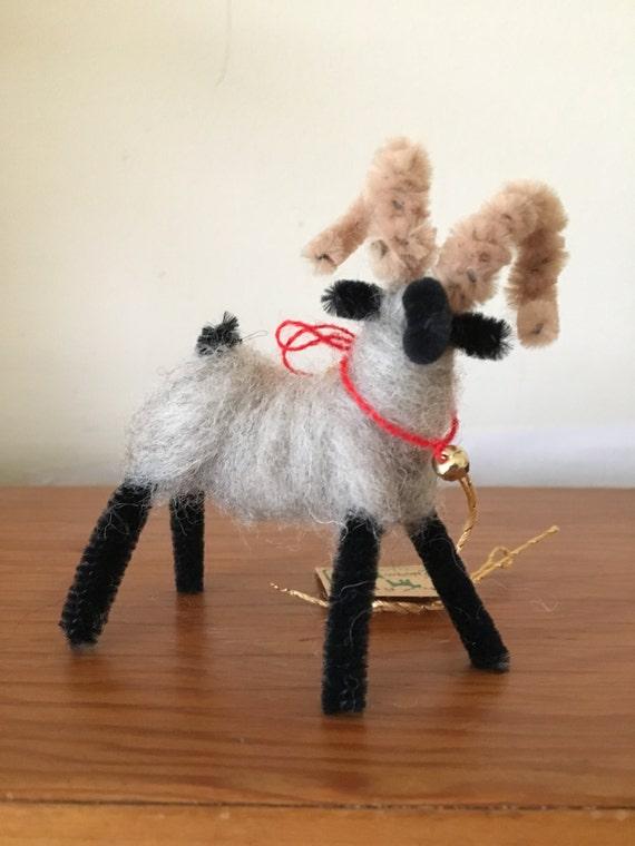 Needle Felted Fleece Ram Ornament, Handmade in Michigan (Felted Ornament, Felted Animal, Animal Ornament)