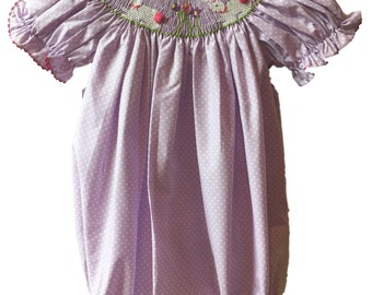 Easter Bunny Smocked Bubble - Girls Easter Smocked Outfit