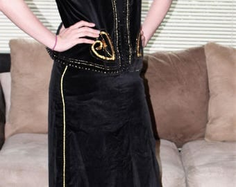 Rare 70's VOGUE Paris Originals Black Velvet with Gold Embellishments Boho Vest and Maxi Skirt Set Small/6