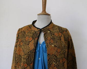 Jacket, blazer semi-long Brocade vintage, gold, bronze, brilliant, scintillating, Jacquard geometric, abstract, 1960-70, Paris, France, T M