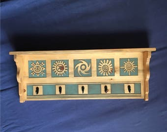 Ancient Sun Symbols Shelf and Hanger in Blue