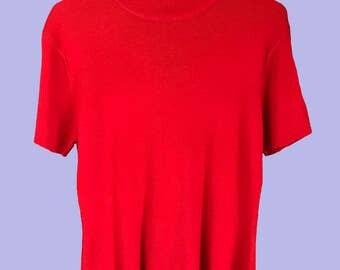 Women's Red Short-Sleeve Mock Neck Sweater