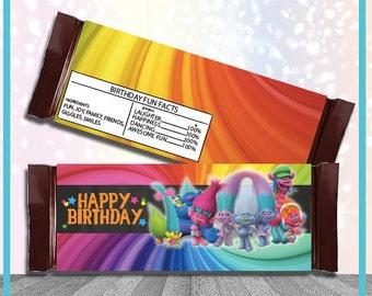 Trolls Candy Bar Wrapper Trolls Party Favor Candybar