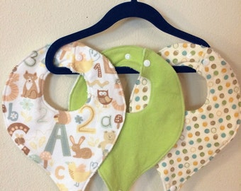 SET OF THREE, Pacifier Bibs, Binky Bibs, Neutral