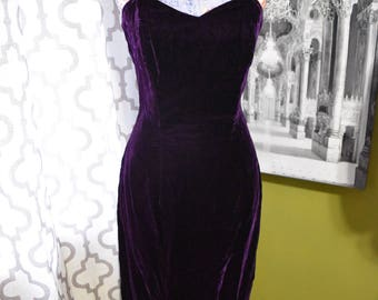 Dark Orchid Dress/Vintage Aubergine Purple Velvet Floor Length Gown/ Strapless Sweetheart Neckline/Goth Prom/ Pin up /Burlesque Size 8