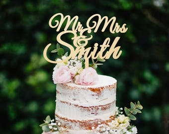 Wedding Cake Topper Wooden Cake Topper Mr and Mrs With Last Name Cake Topper Custom Cake Topper Names Cake Topper Personalized Cake Topper