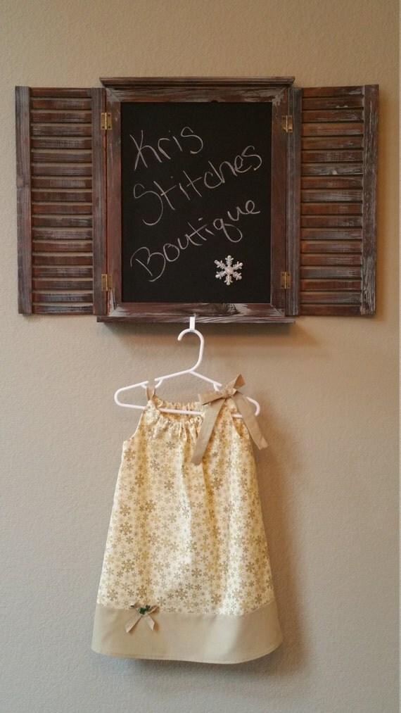 Toddler Gold Christmas Holiday Dress // Snowflake Christmas Holiday Dress