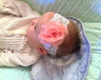 Pink Flower Baby Headband or Hair Clip