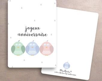 """Birthday card """"Three Birdies"""""""