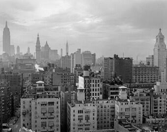 Dreary New York City Photo, NYC, Black White Photographs, Art Print, Historical Wall Art, New York, New York, Skyline