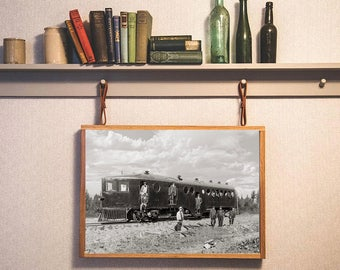 Old Train Photo, Northern Pacific, Black White Photography, Alberta, Canada, 1910, Wall Art, Photograph, Poster, Industrial Decor
