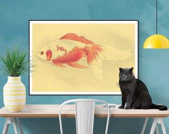 Fish Print, Natural History Art, Antique Goldfish Print, Coastal Art, Farmhouse Modern, Cottage Wall Decor, Art Print, Vintage Repro Poster