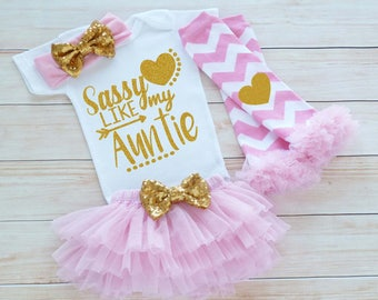 Auntie's Girl, Baby Girl Outfit, Sassy Like My Auntie, Baby Girl Coming Home Bodysuit, Coming Home Baby Girl, Baby Shower Gift, Infant Shirt