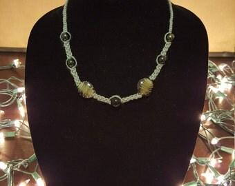 Grey and Black Glass Beaded Handmade Hemp Necklace